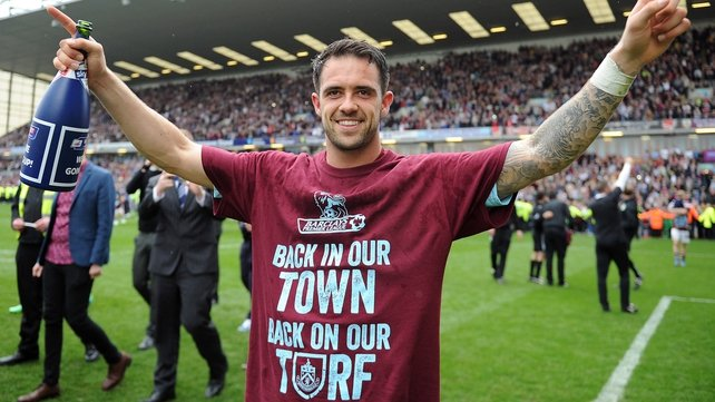 Danny Ings celebrates as the Clarets secured their return to the Premier League
