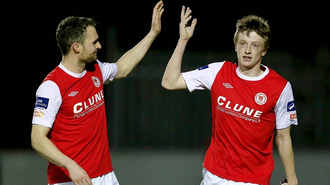 Chris Forrester (right) grabbed another wonder goal for Saints in their facile victory over Drogheda