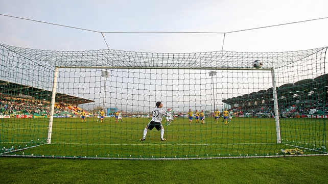 Gary McCabe crashes home Shamrock Rovers' opener from the penalty spot