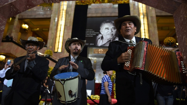 Musicians play Vallenato, a popular folk music from Colombia, during the tribute to late Colombian Literature Nobel Prize laureate Gabriel Garcia Marquez