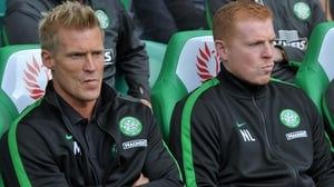 Johan Mjallby (L) was Neil Lennon's assistant at Celtic from 2010-2014