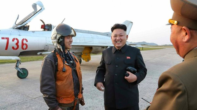 North Korean leader Kim Jong-un was pictured during a recent visit to an aviation unit (Pic: EPA)