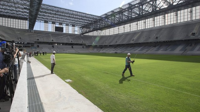 FIFA Secretary General Jerome Valcke also visited the Baixada Arena in Curitiba (Pic: EPA)