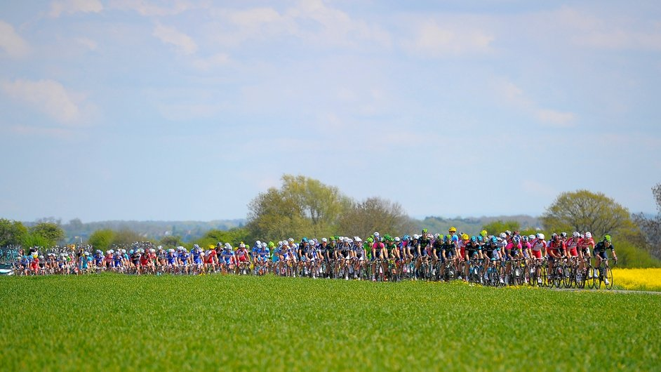 A shot of the peloton during the Fleche Wallone cycling race in Belgium (Pic: EPA)