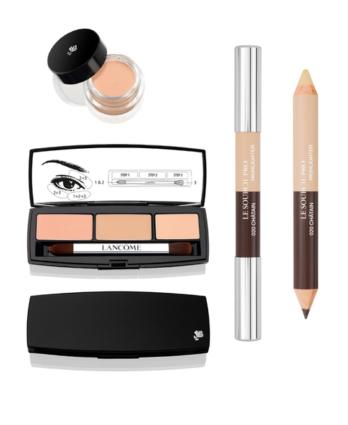 Lancome eyeshadow base, concealer palette and dual-ended brow pencil