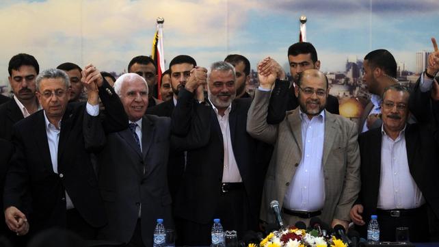 Palestinian legislator Mustafa Barghouti, Palestinian Fatah delegation chief Azzam al-Ahmed, Hamas prime minister Gaza Ismail Haniya, Hamas deputy leader Musa Abu Marzuk, and secretary-general of the Palestinian Arab Front Jameel Shehadeh