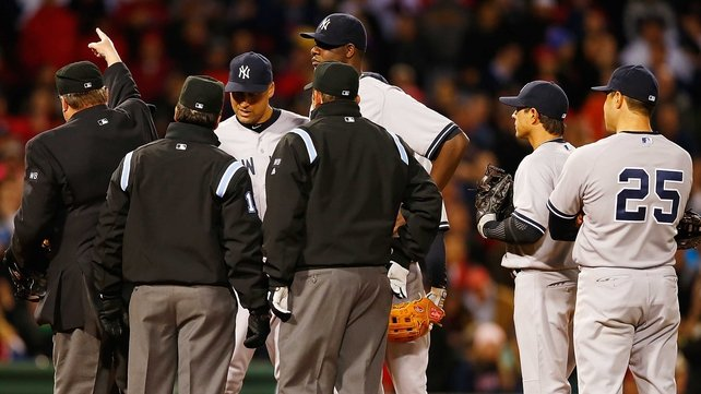 Some neck - Michael Pineda gets his marching orders as the Yankees were beaten by arch rivals Boston Red Sox