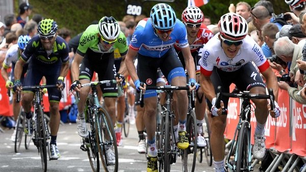 Spain's Alejandro Valverde just beats Ireland's Dan Martin (second from right) to the finish line at the Flèche Wallonne Classic