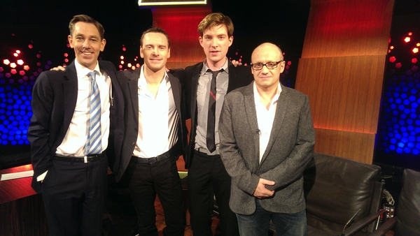 Ryan Tubridy with Michael Fassbender Domhnall Glesson and Lenny Abrahamson