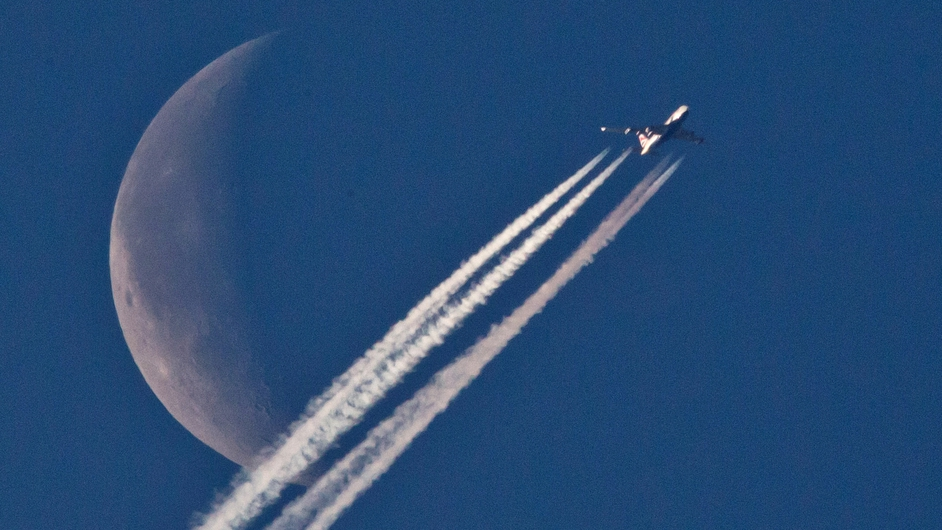 An airplane passes in front of the moon, as seen from Nurenberg, Germany (Pic: EPA)