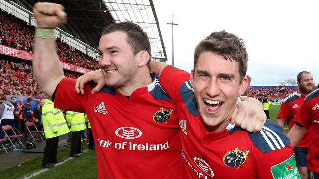 Damien Varley (L) with Ian Keatley after Munster's quarter-final victory over Toulouse