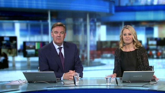 Bryan Dobson and Sharon Ní Bheoláin on the refreshed set of the Six One News