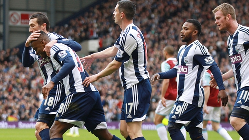 West Bromwich Albion's Saido Berahino celebrates scoring the opener with his team-mates