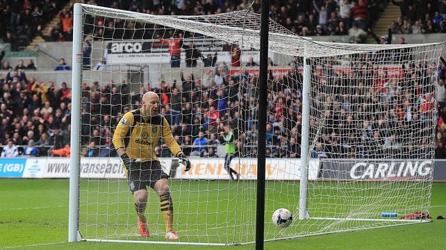 Villa keeper Bradley Guzan looks on helpless as Jonjo Shelvey's wonder strike hits the back of the net