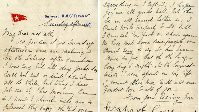 The letter was penned by second class passenger Esther Hart just hours before the liner struck an iceberg