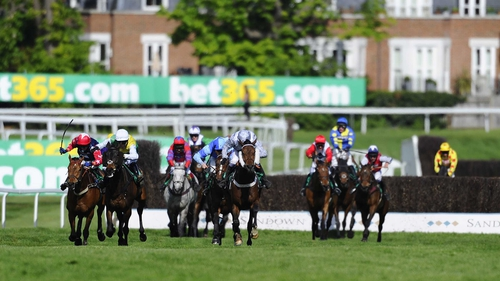 Hadrian's Approach (cheekpieces) got the better of a sustained duel with Burton Port up the Sandown hill