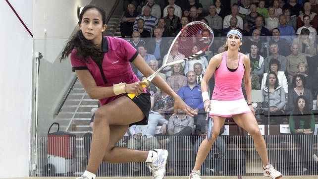 Nouran Ahmed Gohar (front) has won the Irish Squash Open women's title