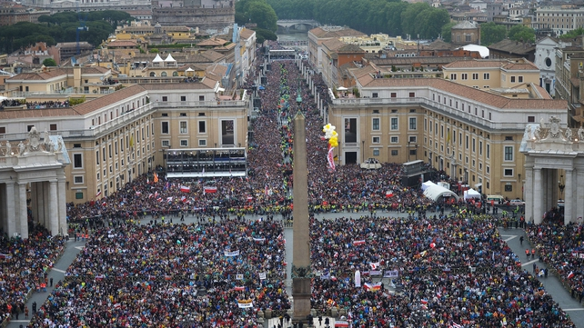 Hundreds of thousands of pilgrims converged on St Peter's Square