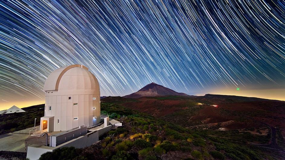 An ESA long-exposure photo captures the La Teide Observatory on Tenerife, Canary Islands, Spain