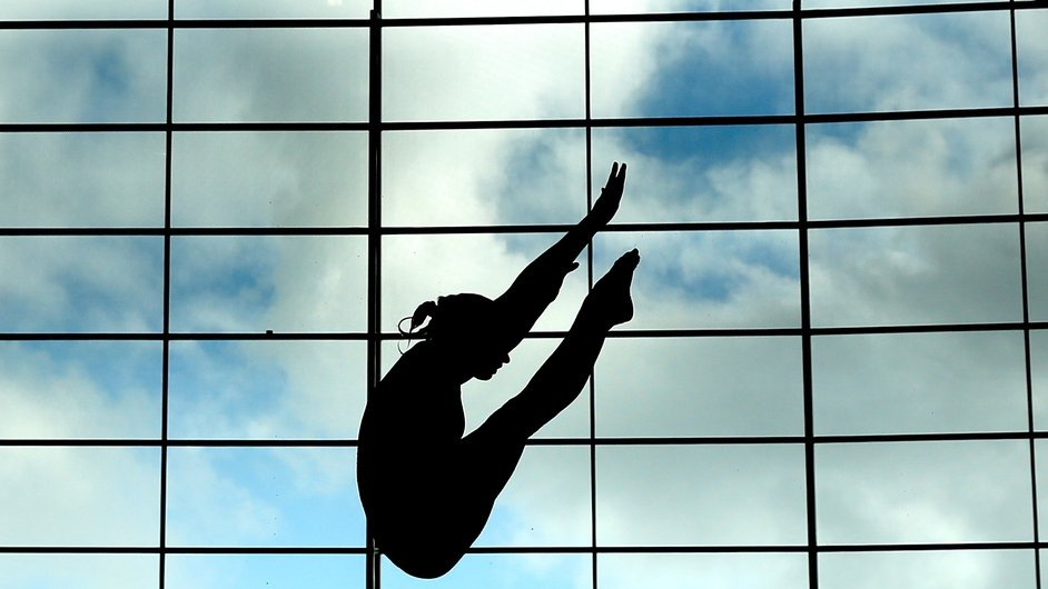 A competitor in action during training on day three of the FINA/NVC Diving World Series at the London Aquatics Centre