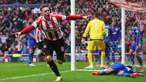 Connor Wickham celebrates scoring the opening goal for Sunderland