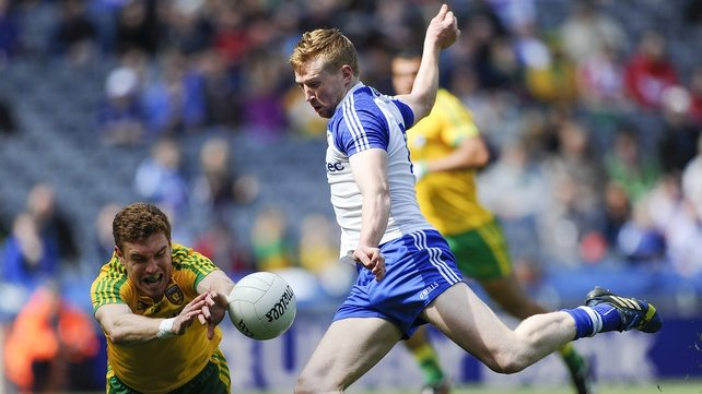 Monaghan's Kieran Hughes has a shot blocked at Croke Park