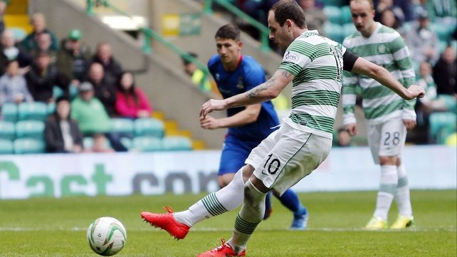 Anthony Stokes completes his hat-trick from the penalty spot against Inverness