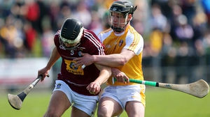 Westmeath's Kieran Duncan in action against Antrim's Barry McFall in Ballycastle