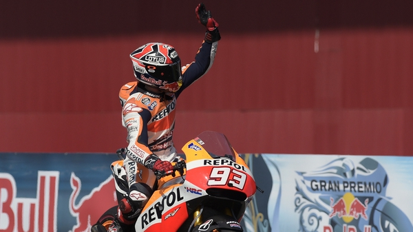 Marc Marquez celebrates after winning the Argentina Grand Prix