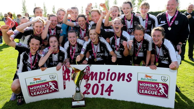 Raheny players celebrate their League title triumph