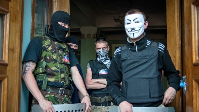 Pro-Russian groups seized control of a television station in eastern Ukraine