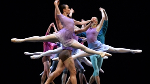 Ballet dancers rehearse a new creation called 'Art to Sky' by Australian choreographer Stephen Baynes at the Sydney Opera House