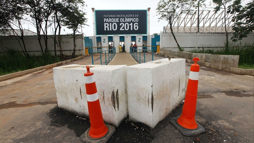 Cones and barricades sit at the entrance to Olympic Park