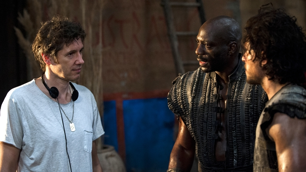 Paul W.S. Anderson, Adewale Akinnuoye-Agbaje and Kit Harington on the set of Pompeii
