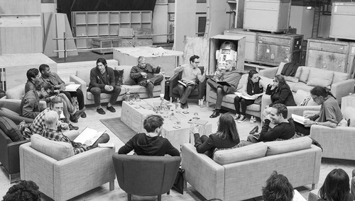 The cast pictured at the first read through for the new Star Wars last April