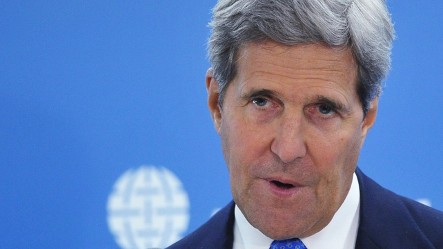 John Kerry said the Ukrainian crisis puts the model of global leadership at stake