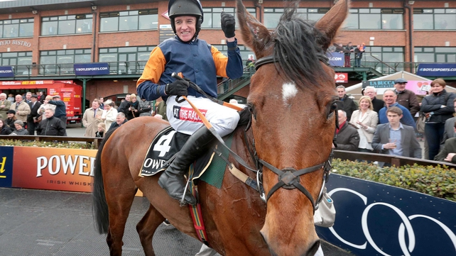 Jockey Barry Geraghty celebrates winning the Powers Gold Cup on Rebel Fitz