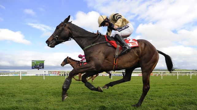 Boston Bob leads home First Lieutenant in the feature race on the second day of the Punchestown Festival