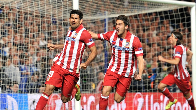 Diego Costa celebrates scoring Atletico Madrid's second goal