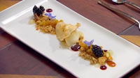Brambles and Bramley with vanilla and star anise ice cream and crumble - Diana's dessert as part of her Finale menu