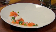 Salmon cured in Jameson, dill and citrus fruit, pea and mint aioli, pickled cucumber, crème fraiche