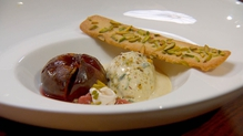 Roasted figs in port, fig puree with orange zest and cinnamon, pistachio ice-cream and pistachio me