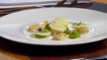 Crab with slices of lightly pickled apple, avocado and lime puree