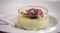 Buttermilk Pannacotta with Lemon and Ginger Jelly and seasonal Autumn Fruits - Niamh's dessert recipe from her Finale menu