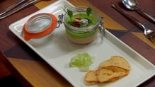 Potted Salmon Pate with Pea Mousse, Pickled Cucumber, Salmon Roe and Sourdough Croutons