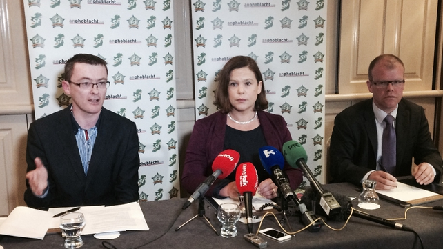 At a news conference, Mary Lou McDonald denied Mr Adams was a suspect
