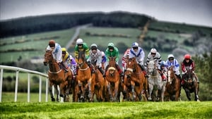 A digitally filtered image shows the runners and riders turning into the home straight at the Punchestown Festival