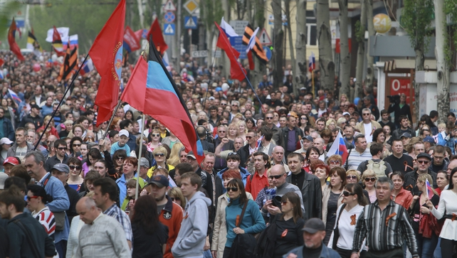 Pro-Russian protesters march during a rally to mark International Labour Day in Donetsk, Ukraine