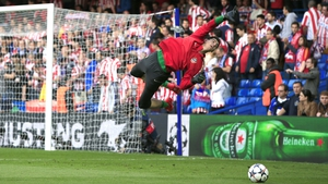 Atletico Madrid's Thibaut Courtois warms up ahead of the Champions League semi-final victory over Chelsea