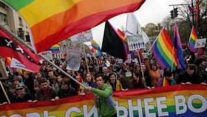LGBT activists march during a May Day protest in St Petersburg, Russia (Pic: EPA)